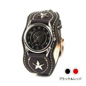 腕時計 革 ケイシーズ(KCs) ウォッチブレス ナッシュビル プレーン ブラック&レッド KIR503N|nomado1230