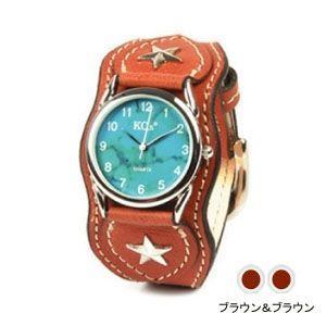 腕時計 革 ケイシーズ(KCs) ウォッチブレス ナッシュビル プレーン ブラウン&ブラウン KIR503G|nomado1230