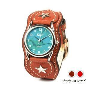 腕時計 革 ケイシーズ(KCs) ウォッチブレス ナッシュビル プレーン ブラウン&レッド KIR503I|nomado1230
