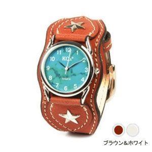 腕時計 革 ケイシーズ(KCs) ウォッチブレス ナッシュビル プレーン ブラウン&ホワイト KIR503J|nomado1230