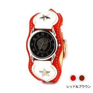 腕時計 革 ケイシーズ(KCs) ウォッチブレス ナッシュビル プレーン レッド&ブラウン KIR503Q nomado1230