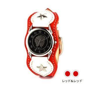 腕時計 革 ケイシーズ(KCs) ウォッチブレス ナッシュビル プレーン レッド&レッド KIR503S|nomado1230