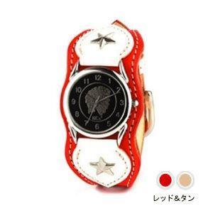 腕時計 革 ケイシーズ(KCs) ウォッチブレス ナッシュビル プレーン レッド&タン KIR503P|nomado1230