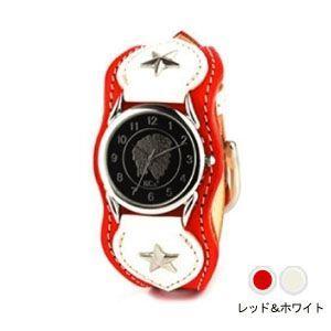 腕時計 革 ケイシーズ(KCs) ウォッチブレス ナッシュビル プレーン レッド&ホワイト KIR503T|nomado1230