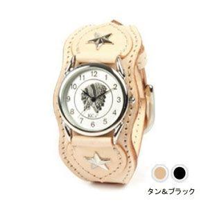 腕時計 革 ケイシーズ(KCs) ウォッチブレス ナッシュビル プレーン タン&ブラック KIR503C|nomado1230