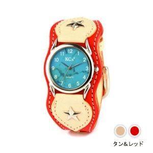 腕時計 革 ケイシーズ(KCs) ウォッチブレス ナッシュビル プレーン タン&レッド KIR503D|nomado1230