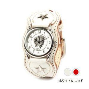 腕時計 革 ケイシーズ(KCs) ウォッチブレス ナッシュビル プレーン ホワイト&レッド KIR503X|nomado1230