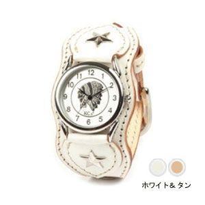 腕時計 革 ケイシーズ(KCs) ウォッチブレス ナッシュビル プレーン ホワイト&タン KIR503U|nomado1230