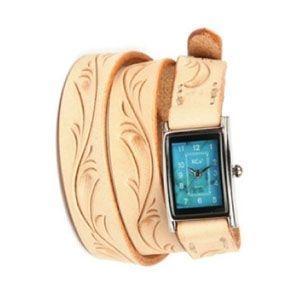 腕時計 革 ケイシーズ(KCs) カービング ロング タン ウォッチブレス KIR005TN|nomado1230