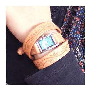 腕時計 革 ケイシーズ(KCs) カービング ロング タン ウォッチブレス KIR005TN|nomado1230|02