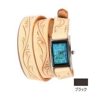 腕時計 革 ケイシーズ(KCs) カービング ロング ブラック ウォッチブレス KIR005BK|nomado1230