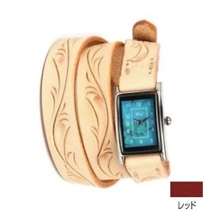 腕時計 革 ケイシーズ(KCs) カービング ロング レッド ウォッチブレス KIR005RD|nomado1230