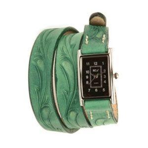 腕時計 革 ケイシーズ(KCs) カービング ロング グリーン ウォッチブレス KIR005GR|nomado1230
