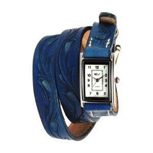 腕時計 革 ケイシーズ(KCs) カービング ロング ブルー ウォッチブレス KIR005BU|nomado1230