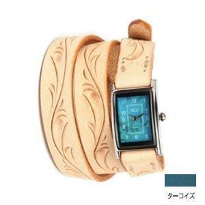 腕時計 革 ケイシーズ(KCs) カービング ロング ターコイズ ウォッチブレス KIR005TQ|nomado1230