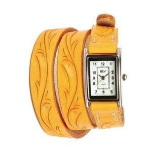 腕時計 革 ケイシーズ(KCs) カービング ロング オレンジ ウォッチブレス KIR005OR|nomado1230
