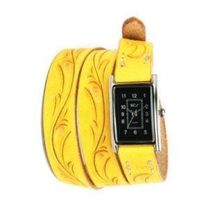 腕時計 革 ケイシーズ(KCs) カービング ロング イエロー ウォッチブレス KIR005YL|nomado1230