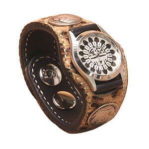 腕時計 革 ケイシーズ(KCs) エキゾチック スリーコンチョ ヒョウ柄 ウォッチブレス レオパード KIR519A|nomado1230