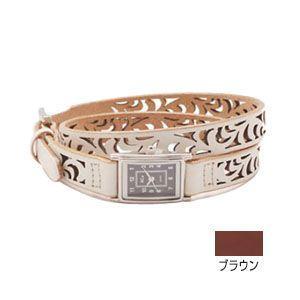 腕時計 革 ケイシーズ(KCs) ウォッチブレス レディース フィリグリー ロング カウハイド ブラウン KIR523B|nomado1230