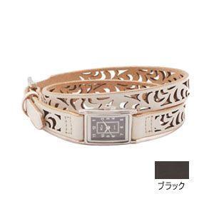 腕時計 革 ケイシーズ(KCs) ウォッチブレス レディース フィリグリー ロング カウハイド ブラック KIR523C|nomado1230