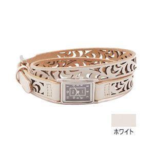 腕時計 革 ケイシーズ(KCs) ウォッチブレス レディース フィリグリー ロング カウハイド ホワイト KIR523D|nomado1230