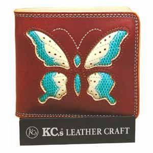 メンズ財布 革 名入れ ケイシーズ(KCs) インレイ&オーバーレイ サンタフェ ライトブラウン スワローテール ビルフォード KMB004LB|nomado1230