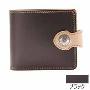 メンズ財布 革 名入れ ケイシーズ(KCs) サンタフェ ブラック フラップ ビルフォード KMB505D|nomado1230