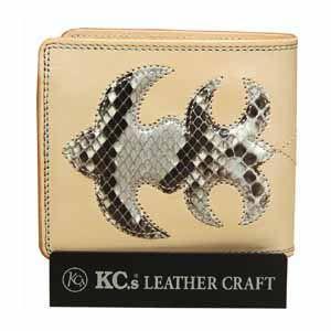 メンズ財布 革 名入れ ケイシーズ(KCs) インレイ&オーバーレイ サンタフェ タン パイソン ビルフォード KMB006TN|nomado1230