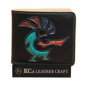 メンズ財布 革 名入れ ケイシーズ(KCs) インレイ&オーバーレイ サンタフェ ブラック ココペリ ビルフォード KMB007BK|nomado1230