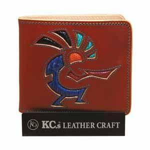メンズ財布 革 名入れ ケイシーズ(KCs) インレイ&オーバーレイ サンタフェ ライトブラウン ココペリ ビルフォード KMB007LB|nomado1230
