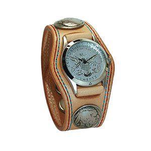 腕時計 革 ケイシーズ(KCs) プレーン スリーコンチョ タン ダブルステッチ ウォッチブレス KMR502A|nomado1230