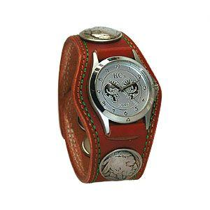 腕時計 革 ケイシーズ(KCs) プレーン スリーコンチョ ライトブラウン ダブルステッチ ウォッチブレス KMR502B|nomado1230