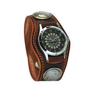 腕時計 革 ケイシーズ(KCs) プレーン スリーコンチョ ダークブラウン ダブルステッチ ウォッチブレス KMR502C|nomado1230