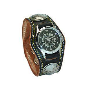 腕時計 革 ケイシーズ(KCs) プレーン スリーコンチョ ブラック ダブルステッチ ウォッチブレス KMR502D|nomado1230