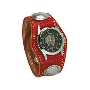 腕時計 革 ケイシーズ(KCs) プレーン スリーコンチョ レッド ダブルステッチ ウォッチブレス KMR502E|nomado1230