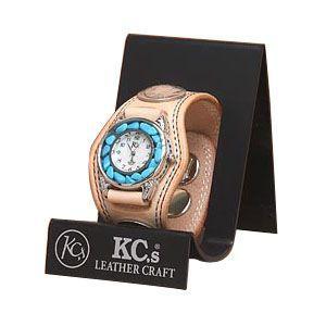 腕時計 革 ケイシーズ(KCs) プレーン スリーコンチョ タン ウォッチブレス ダブルステッチ ターコイズムーブメント KMR503A nomado1230
