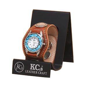腕時計 革 ケイシーズ(KCs) プレーン スリーコンチョ ライトブラウン ウォッチブレス ダブルステッチ ターコイズムーブメント KMR503B|nomado1230