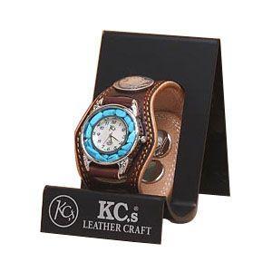 腕時計 革 ケイシーズ(KCs) プレーン スリーコンチョ ダークブラウン ウォッチブレス ダブルステッチ ターコイズムーブメント KMR503C|nomado1230