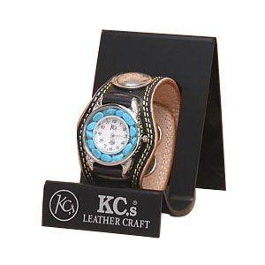 腕時計 革 ケイシーズ(KCs) プレーン スリーコンチョ ブラック ウォッチブレス ダブルステッチ ターコイズムーブメント KMR503D|nomado1230