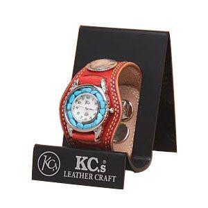 腕時計 革 ケイシーズ(KCs) プレーン スリーコンチョ レッド ウォッチブレス ダブルステッチ ターコイズムーブメント KMR503E|nomado1230