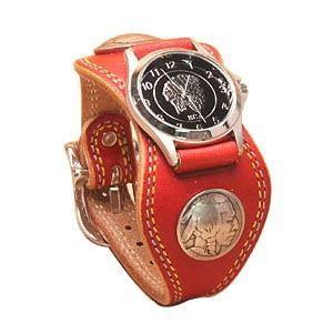 腕時計 革 ケイシーズ(KCs) プレーン エスパニューラ レッド ウォッチブレス ダブル ステッチ KMR504E|nomado1230