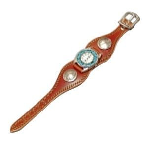 腕時計 革 ケイシーズ(KCs) プレーン エスパニューラ ライトブラウン ウォッチブレス ダブルステッチ ターコイズムーブメント KMR505B|nomado1230