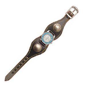 腕時計 革 ケイシーズ(KCs) プレーン エスパニューラ ブラック ウォッチブレス ダブルステッチ ターコイズムーブメント KMR505D nomado1230 02
