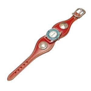 腕時計 革 ケイシーズ(KCs) プレーン エスパニューラ レッド ウォッチブレス ダブルステッチ ターコイズムーブメント KMR505E|nomado1230