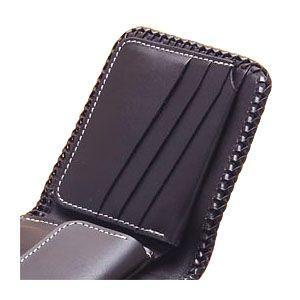メンズ財布 革 名入れ ケイシーズ(KCs) レーシング ターコイズ ブラウン クラフト ビルフォード ライセンスケース付 KNB522C nomado1230 03