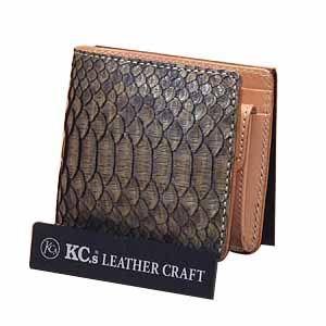 メンズ財布 革 名入れ ケイシーズ(KCs) エキゾチック サンタフェ ベージュ ラッセルパイソン ビルフォード KPB013BG|nomado1230