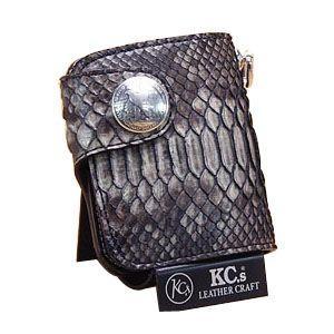 メンズ財布 革 名入れ ケイシーズ(KCs) エキゾチック ラレド グレー ラッセルパイソン ビルフォード KPB520B|nomado1230