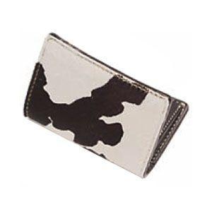 カードケース メンズ 革 名入れ ケイシーズ(KCs) エキゾチック ホワイト&ブラック フォート ワース ヘアーカーフ カードケース KPC011BK&WH|nomado1230
