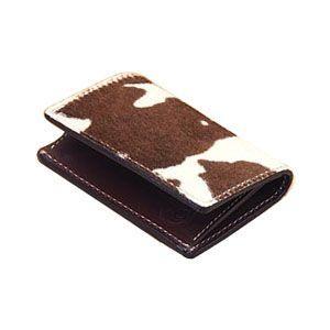 カードケース メンズ 革 名入れ ケイシーズ(KCs) エキゾチック ホワイト&ブラウン フォート ワース ヘアーカーフ カードケース KPC011BR&WH|nomado1230
