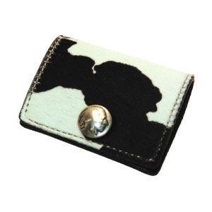 コインケース メンズ 革 名入れ ケイシーズ(KCs) エキゾチック ホワイト&ブラック コインケース スリー ヘアー カーフ KPC554A|nomado1230